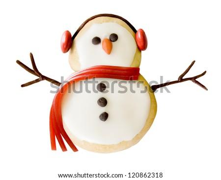 Snowman cookie - stock photo