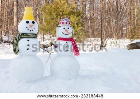 Snowman couple - stock photo