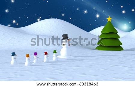 Snowman family to a Christmas tree - rendering