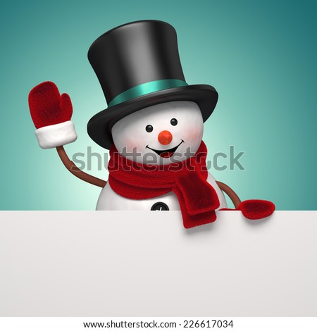 snowman gentleman wearing hat, holding New Year greeting banner, holiday background, 3d illustration - stock photo