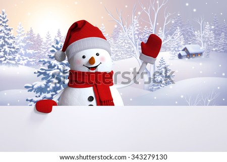 snowman greeting card, Christmas holiday background, winter nature, snowy landscape, Happy New Year - stock photo