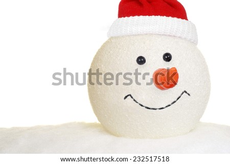 Snowman head with hat - stock photo