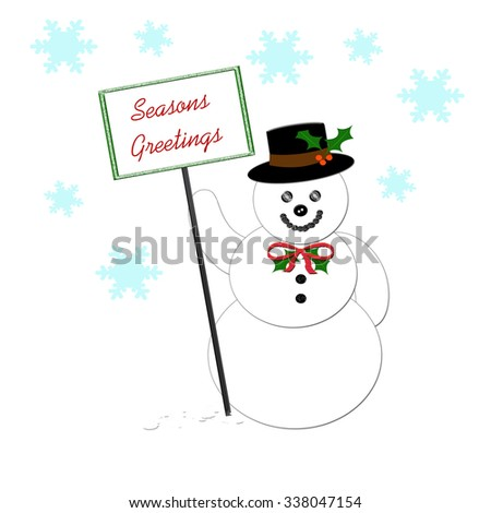 snowman holding a season's greetings sign illustration - stock photo