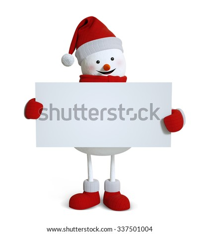 snowman holding blank card banner, copy space, winter holiday 3d illustration - stock photo