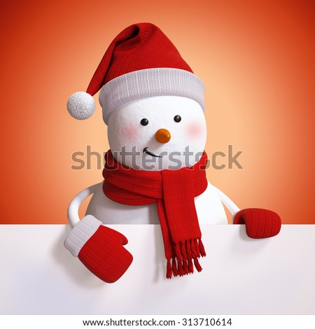 snowman holding blank Christmas banner, red holiday background, 3d illustration - stock photo