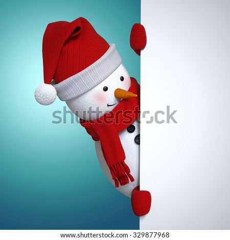 snowman holding white banner, blue Christmas background, holiday clip art, 3d illustration - stock photo