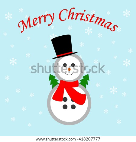 Snowman icon on the blue background. illustration