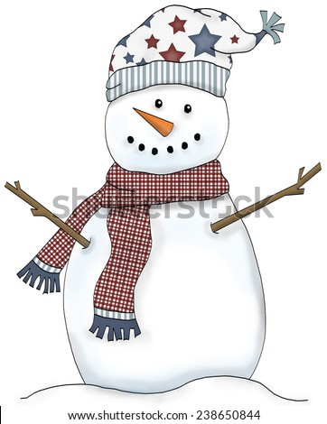 Snowman illustration with red plaid scarf and star print hat - stock photo