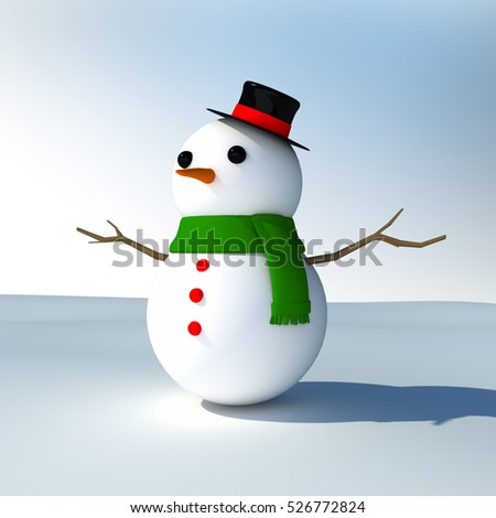 Snowman in Christmas theme , 3d