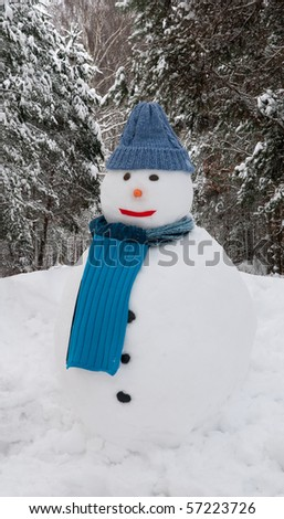 Snowman in forest - stock photo
