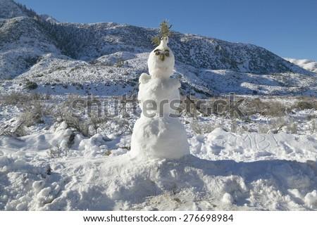 Snowman in fresh snowfall along Highway 33 north of Ojai, California - stock photo