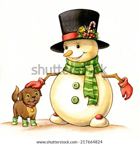 Snowman in hat and with a puppy. Isolated on white. Christmas watercolor illustration - stock photo