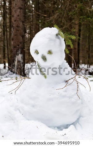 Snowman in the forest of Saint Blaise, a spa town in the Black Forest in South Germany - stock photo