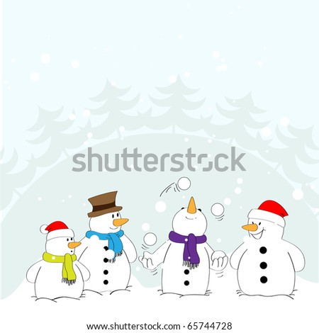 Snowman in the role of a juggler with the audience.