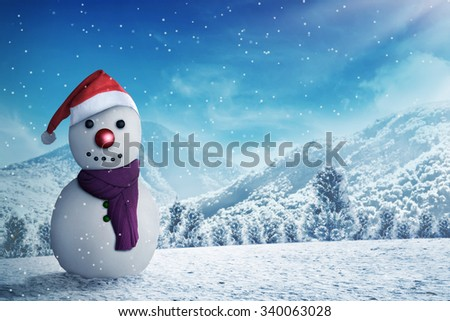 Snowman in the snow forrest. Christmas concept - stock photo