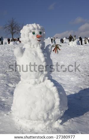Snowman in Winter - stock photo