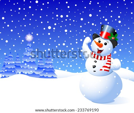 Snowman in winter scene against falling snow flakes. Raster version.   - stock photo
