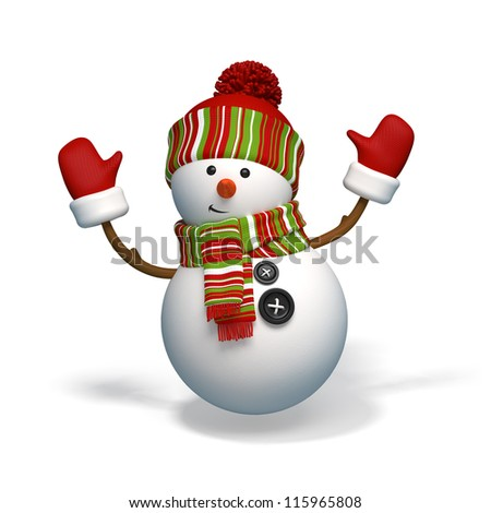 snowman isolated - stock photo