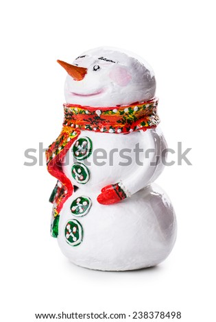 snowman Isolated on white background - stock photo