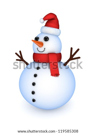 Snowman.Isolated on white background.3d rendered. - stock photo