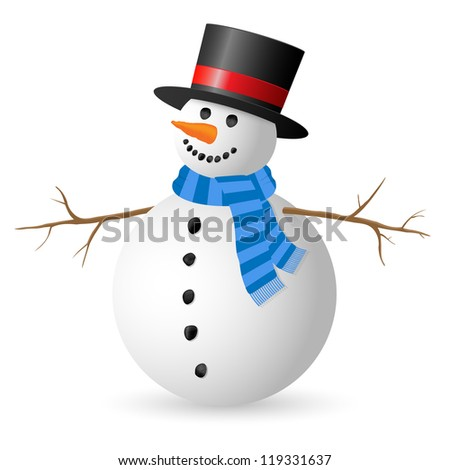 Snowman isolated on white background. Illustration.