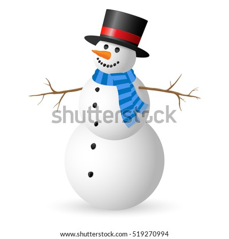 Snowman isolated on white background. Illustration