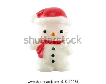 snowman lamp isolated on white background, plastic lamp snowman-shaped decoration Christmas season
