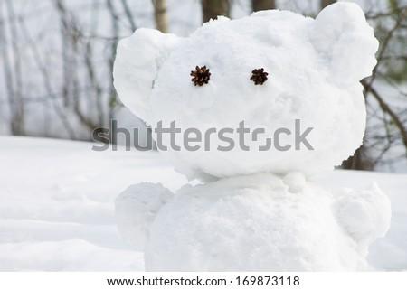 snowman like a bear - stock photo