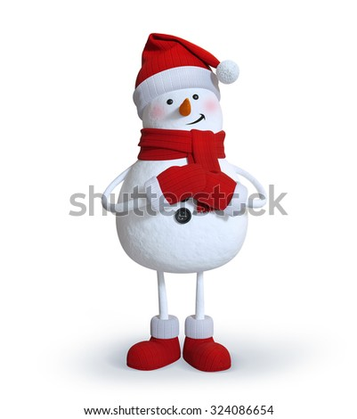 snowman making a wish, 3d character illustration, Christmas holiday clip art - stock photo