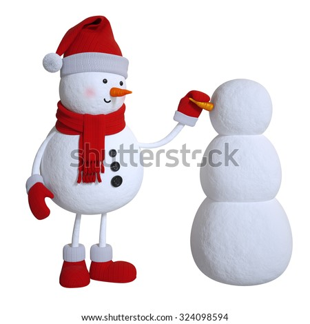 snowman making other snowman, 3d illustration isolated on white background