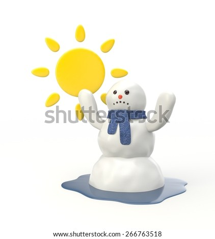 Snowman melting from the hot sun - stock photo