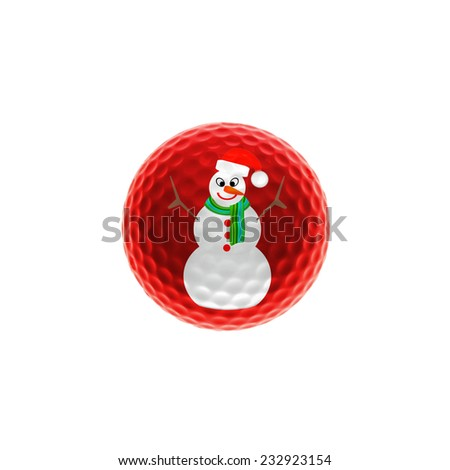 Snowman on a golf-ball isolated over white - stock photo