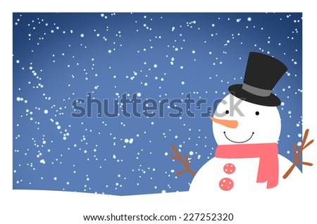snowman on background - stock photo