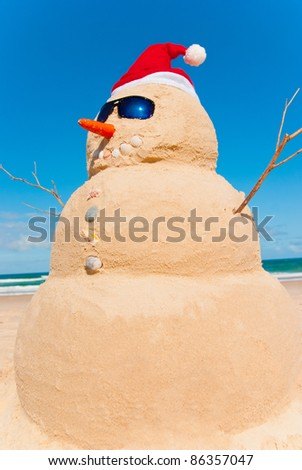 Snowman on holidays. Global Warming Concept Carrot As Nose and Shells for Buttons And Mouth