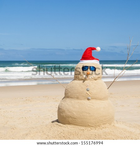 Snowman on holidays made out of sand instead of snow. Concept could be used for Global Warming & Christmas Cards - stock photo