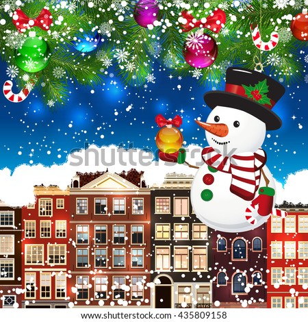 Snowman on the background of snow-covered streets.  - stock photo