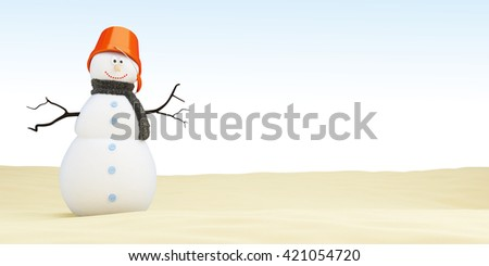 Snowman on the beach, 3D rendering