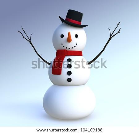 snowman open his arm - stock photo