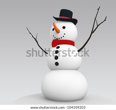 snowman open his arm in simple tone.