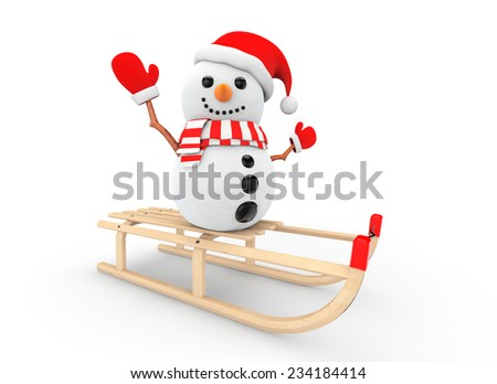 Snowman over Wooden Sledge on a white background - stock photo
