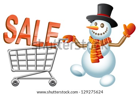 Snowman pushes shoppingcart with letters. Christmas  shoppingcart; Sale theme.  Raster version, vector file also included in the portfolio. - stock photo