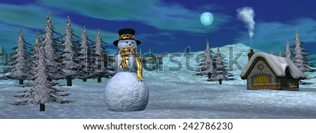 Snowman standing next to a cottage by snowy night - 3D render