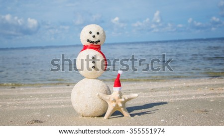 Snowman starfish beach