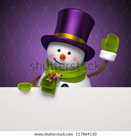 snowman top hat banner - stock photo
