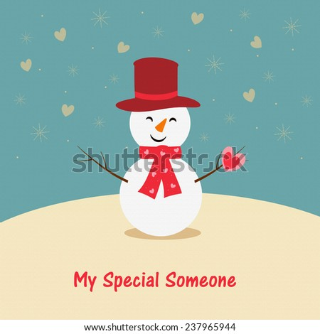 Snowman - Valentine's - stock photo
