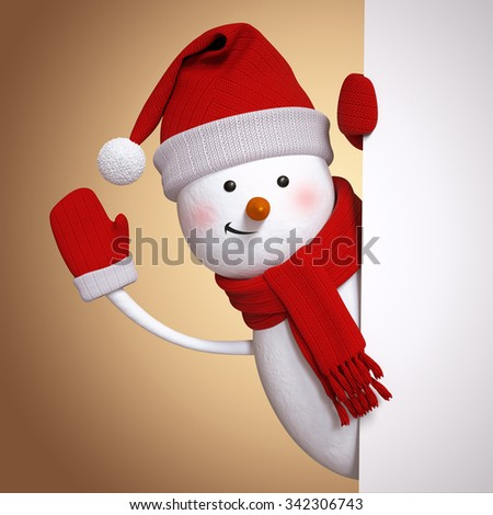 snowman waving hand, Christmas greeting card, 3d illustration, blank banner, holiday background