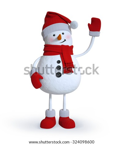 snowman waving hand, 3d illustration, Christmas holiday clip art isolated on white background - stock photo