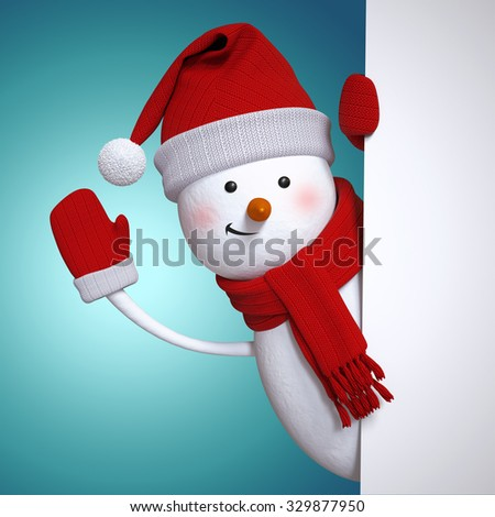 snowman waving hand, holding blank New Year banner, blue Christmas holiday background, 3d illustration - stock photo