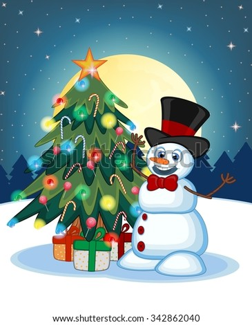 Snowman wearing a hat and a bow ties With Christmas Tree And Full Moon At Night Background For Your Design Illustration