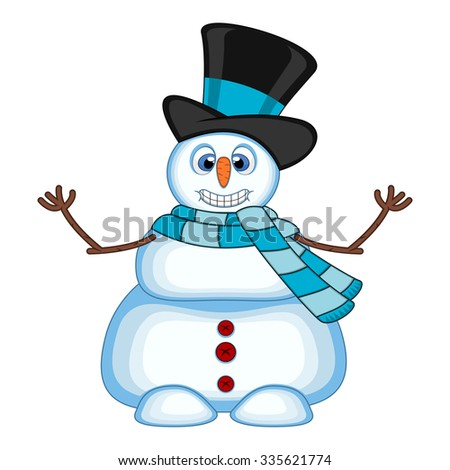 Snowman wearing a hat and blue scarf waving his hand